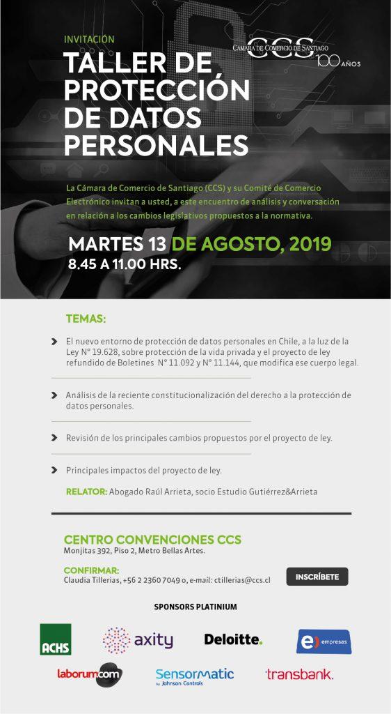 Invitación al Taller de Datos Personales, Cámara de Comercio de Santiago.